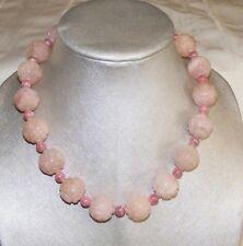 Spectacular Vintage Chinese Morganite Shou Longevity Bead Necklace