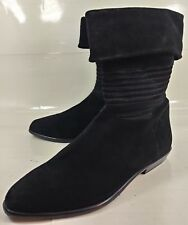 Andre Assous Wos Boots Ankle US8 Black Suede Pull On Cuff Satin Detail Italy4053