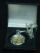 pewter pocket watch Made in UK Skeleton watch mechanical windup by A.E. Williams