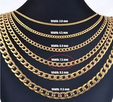 """7.5mm 16"""" Long Stainless Steel Curb necklace Link Chain Pendant Gold Tn STCR7.5G"""