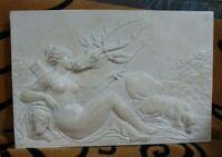 """shlf VINTAGE LOUVRE MUSEUM REPRODUCTION ANCIENT GREEK FRIEZE ARTEMIS & STAG 17"""""""