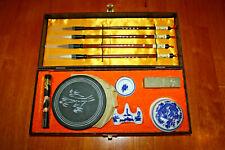 Chinese Traditional Calligraphy Set Brush Pen/Inkstone/Pen Rack/Seal (Green Set)