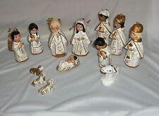 Vintage 13 Pc Ceramic Folk Art Hand Made White & Gold Nativity Figurines Mexico