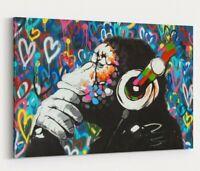 MONKEY DJ BANKSY LOVE WALL CANVAS STREET ART PICTURE PRINT  - GORILLA
