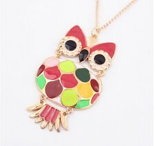 Random Fashion Cute gold colors Owl With Big Eye Pendant Vintage Animal Necklace