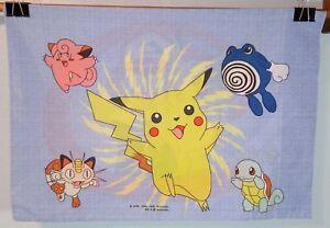 Vintage Pokemon Pillowcase Reversible Pikachu Ash Standard Size Springs 1998