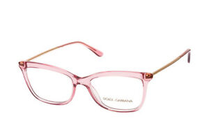 New Dolce & Gabbana DG 3286 3148 Transparent Pink Gold RX Eyeglasses 52 mm Italy
