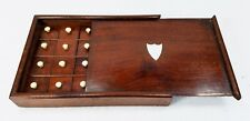 Antique Mahogany Wood Collector Cabinet 24 Boxes Inlaid Sterling Silver Shield