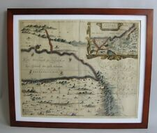 Rare Antique 17th C. Hand-Tinted Map of the Middle East (Arabia) in Exc. Cdn.
