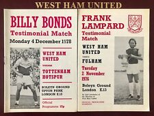 More details for billy bonds & frank lampard - testimonial programme's 1976/78 vs fulham & spurs