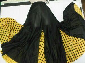 Mainstreet Flamenco Drawstring Skirt Dotted Black and Flg Gold Ladies Small