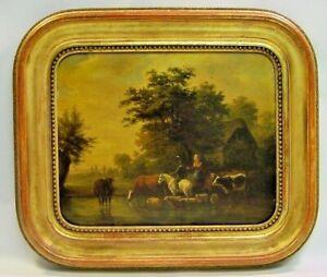 1833 Joseph VERNET (French,1797-1860) Pastoral Landscape Oil/Board Watering Cows