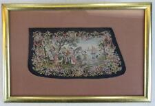 Hand Embroidered Antique Needlepoint Sleave Cuff Clothing Gold Frame Tapestry