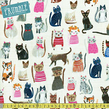 Windham fabric hot dogs et cool cats kitty crème au mètre en coton organique pets