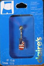 CLAIRE'S PATRIOTIC USA BELLY BUTTON RING PEACE SIGN STARS STRIPES