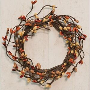 """Country-FARMHOUSE-Pip Berry Candle Ring-Small Wreath-3.5""""-Pumpkin Spice"""