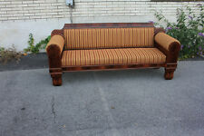 Long Empire Mahogany Newly Upholstered Sofa, Couch