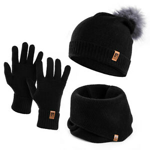 Wintermütze Schlauchschal Handschuhe Set Damen Winter Mütze Schal Winterhandschu