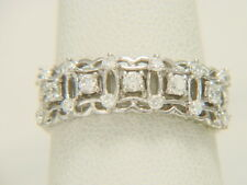 18K White Gold .45ctw Diamond Wide Band Wedding or Anniversary Ring Size 6