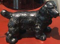 ANTIQUE CAST IRON BLACK COCKER SPANIEL DOG TOY STATUE  PAPERWEIGHT