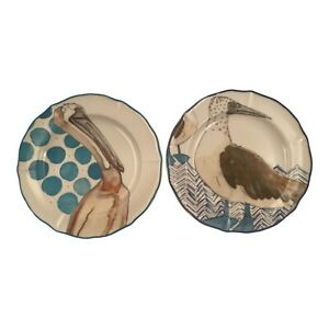 """Set of 2 ANTHROPOLOGIE Salad/Dessert Plates Pelican and Blue Footed Boobys 8.25"""""""