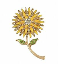 Womens Brooch Pin Sunflower Alloy Enamel Inlay Crystal Dress Shirt Suit Sweater