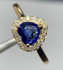 New 2 Ct Blue Ceylon Heart Sapphire & D VS1 Diamond Halo Ring 14k Yellow Gold