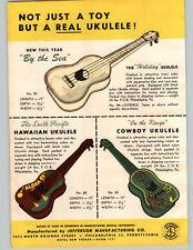 1950 PAPER AD Jefferson Toy Cowboy Guitar The Texan Jr By The Sea Ukulele Uke