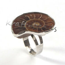 Natural Druzy Ammonite Fossil Shell Unisex Adjustable Stone Finger Ring Jewelry