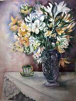 "ORIGINAL ART Watercolor Painting Flowers Joan Perry (1928-2019) 24""h X 18"""