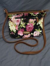 Madden Girl Black & Pink Floral Handbag Purse Brown Faux Leather Trim Used Once