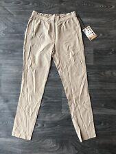 NWT Da Nang Women's Silk Skinny Pants Ruffled Waist Lion Beige