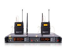 Dual Headset Wireless Microphone System Pro Outdoor Cordless Microphone Beige