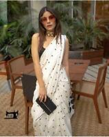 White Sari Bollywood Chanderi cotton Designer Soft Saree Party wedding wear Sari