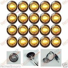 "20 NEW 3/4"" CLEAR/AMBER LED CLEARANCE MARKER BULLET LIGHTS W 316SS TRIM RING"