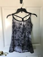 Tek Gear Womens Sleeveless Gray/White/Black Workout Top Sz: Medium Sport Gym