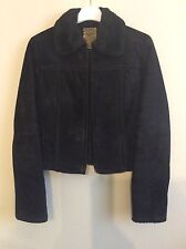 MNG Mango Leather Womens 8 10 Black Suede Jacket Coat  Fur Trim Collar EUC