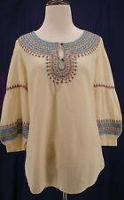 Lucky Brand Small Blue Cream Red Embroidered Boho Festival Gypsy Shirt Top