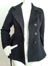 Designer REISS Clementine wool coat size XS --USED ONCE--wool blend black belted