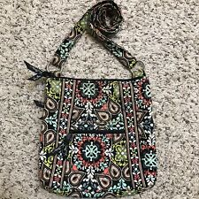 Vera Bradley Hipster Bohemian Teal Yellow Paisley Crossbody Purse Bag