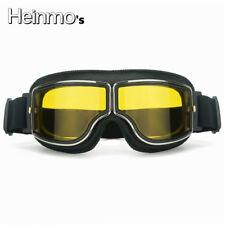 Retro Motorrad Brille Brille Bike Aviator Pilot Outdoor Helm gelb Objektiv