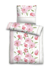 Fein Biber Baumwolle Bettwäsche 4 tlg 135x200 RV Streifen Blumen rosa weiß bunt