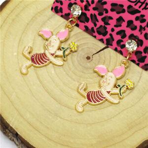 Hot Pink Enamel Cute Pig Cartoon Crystal Betsey Johnson Women Stand Earrings
