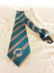 NEW Miami Dolphins NFL Football Logo Poly Striped Mens Neck Tie by Eagles Wings