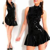 Vinyl Dress Clubwear Wet Leather Black Zipper Hot 2018 Mini Costume Look Pvc
