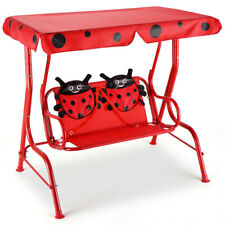 2 Person Kids Ladybug Swing with Removable Canopy for Patio Porch Children Seat