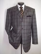 Gianni Manzoni Gray Plaid 3 Buttons Flannel Super 100s Wool Jacket Coat 44 R