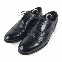 Vtg Dexter Black Pebble Leather Long Wing Tip Wingtip Dress Shoes Mens Sz 10.5 M
