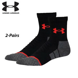 UA Socks: 2-PAIR All Season Wool Mid Crew (L) BLK