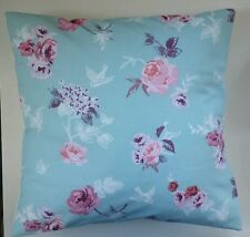 "Purple Green Rose Swallow Print Cushion Cover 16"" Matches Next Bedding Curtains"